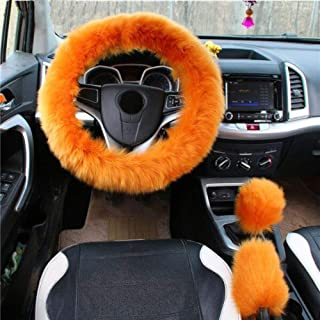 Carmen 38cm/15 Inch Universal 3 in 1 Winter Pure Wool Car Steering Wheel Cover + Handbrake Cover + Gear Shift Cover Furry Protector Set (Gold Camel)