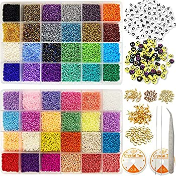 35000Pcs Glass Seed Beads WOHOOW 2mm 12/0 Bracelet Beads for Jewelry Making Kit Small Bead Craft Set Glass Seed Alphabet Beads for DIY Craft and Bracelets Earrings Necklaces Making 48 Colors