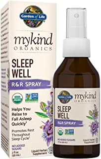 Garden of Life mykind Organics Sleep Well R&R Spray 2 fl oz (58 mL) Liquid - Relax & Rest, Green Tea Extract L-Theanine, Chamomile, Lemon Balm - Organic Non-GMO Vegan & Gluten Free Herbal Supplements