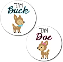 36 2.5-inch Deer Team Buck and Doe Gender Reveal Party Stickers