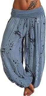 KWENG Summer Beach Bohemian Pants Ladies High Waist Harem Pants Plus Size Retro Loose Printed Bloomers Floral Trousers Women (Color : Blue, Size : 4XL)
