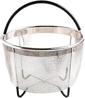 Fenteer Instant Pot Steamer Basket 6qt, Steamer Rack Stand, Accesorios De Olla A Presión Instant Pot con Asa De Silicona Y Patas Antideslizantes - Negro