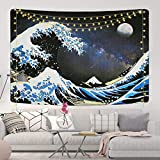 Great Wave Wall Tapestry Ocean Wave Tapestry Japanese Wave Kanagawa Tapestry with Moon Tapestry Wall Hanging for Room (51.2 x 59.1 inches)