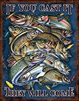 お魚いっぱいルアーと獲物達レトロ調アメリカンブリキ看板