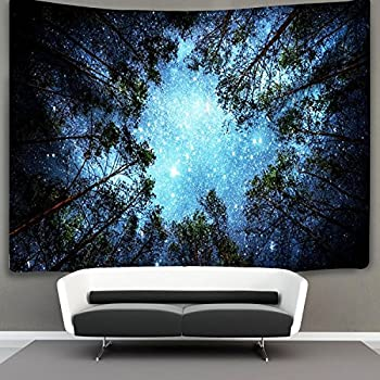Forest Starry Tapestry Wall Hanging 3D Printing Forest Tapestry Galaxy Tapestry Forest Milky Way Tapestry Tree Tapestry Night Sky Tapestry Wall Tapestry for Dorm Living Room Bedroom  M 4#forest star