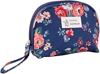 Half Round Travel Cosmetic Bag Portable Makeup Pouch Organizer for Women Girls, 1 piece (Dark Blue)