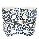 MAX Houser Fabric Storage Bins Cubes Baskets Containers with Dual Plastic Handles for Home Closet Bedroom Drawers Organizers, Foldable, Set of 4 (Blue)