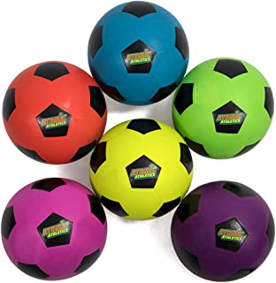 K-Roo Sports Atomic Athletics 6 Pack of Neon Rubber Playground Soccer Balls - Regulation Size 5, 8.5