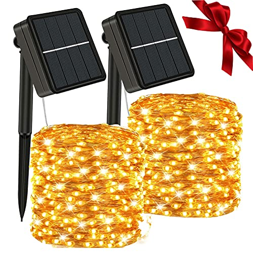 Solar String Lights Outdoor - Waterproof 166Ft 500 LEDs 2Pcs Total Solar Powered Fairy Lights Decoration Copper Wire Lights with 8 Modes, for Patio Yard Trees Christmas Wedding Party Decor (Warm)