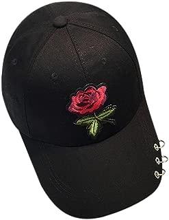 Toraway Caps, Unisex Fashion Rose Baseball Cap Metal Ring Adjustable Hip Hop Rose Hat