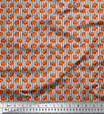 Soimoi Grau Baumwoll-Popeline Stoff Streifen & Kürbis