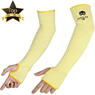 """Kevlar Arm Sleeves, Easylife185 Cut & Heat Proof Sleeve with Thumb Holes, 18 """" Inch Long Safety..."""