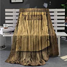 Blanket for Sofa Couch Bed Western,Retro Wanted Poster Design Travel Blanket 60