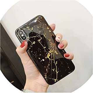 Luxury Gold Foil Bling Marble Phone Case for iPhone X XS Max XR Soft TPU Cover for iPhone 7 8 6 6s Plus Glitter Case Coque Funda,Black,for iPhone Xs