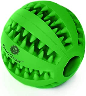 SunGrow Dental Chew Treat Ball For Dogs, Interactive Pet Training Toy, Durable, Rubber Tooth Cleaning Toy, Boredom Buster ...
