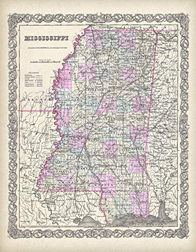 Canvas - 1855 Map of Mississippi - Choose Unframed Poster or Canvas - Great Vintage Gift and Decor for History Buffs and Old Map Enthusiasts Under $30