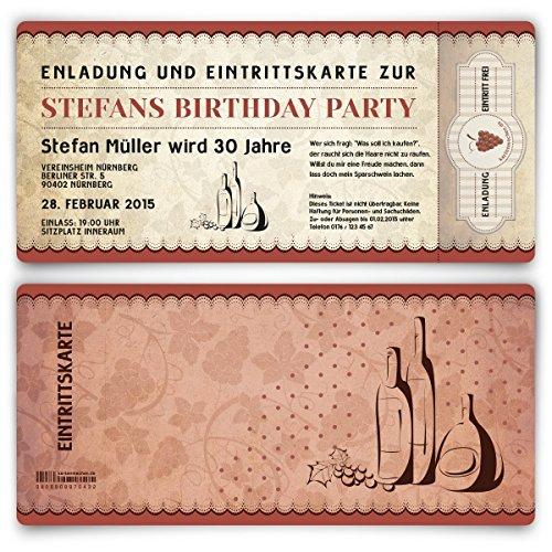 Einladungskarten zum Geburtstag (20 Stück) als Eintrittskarte Wein Ticket Karte Einladung