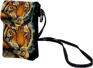 Handy Umhängetasche Tiger Damen PU Leder Frauen Brieftasche Cross-Body Tasche Schultertasche Klein Handytasche Geldbörse 1...