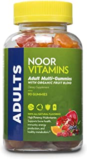 NoorVitamins Adult Multivitamin Gummy with Organic Fruit Blend for Men and Women; NON-GMO, Gluten Free, Vegan Friendly. Ha...