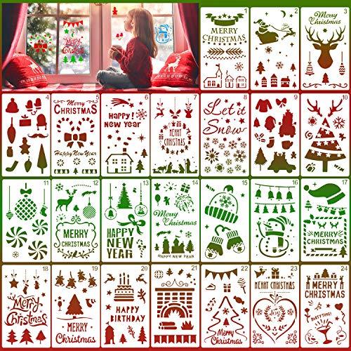 HOWAF 24 Pezzi Stencil di Natale Modello Riutilizzabile Stencil in plastica Stencil per disegnare Pittura Spruzzare Finestra Porta in Vetro Legno Journaling Scrapbook Natale Decorazione Fai da Te