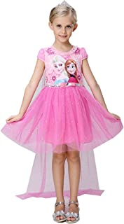 Snow Queen Elsa Princess Girls` Short/Long Sleeve Tutu Dress Costume with/No Cape
