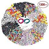 Souarts 1300 Stück Perlen Buchstaben zum Auffädeln Acryl Alphabet Bunt Buchstabenperlen A bis Z DIY Zubehör Schmuck Basteln mit Schnur (Mehrfarbig 1300)