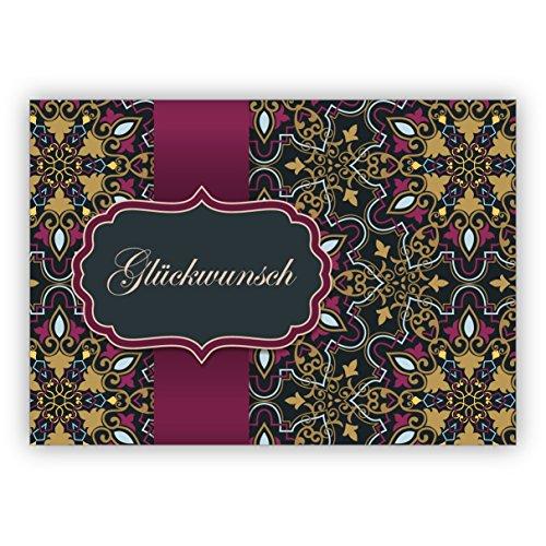 Elegante Grußkarte als Glückwunsch mit arabischem Muster im orientalischen Stil, rosa gold Optik: Glückwunsch • hochwertige Klappkarte mit Umschlag zum Gratulieren, Geschenk Beileger