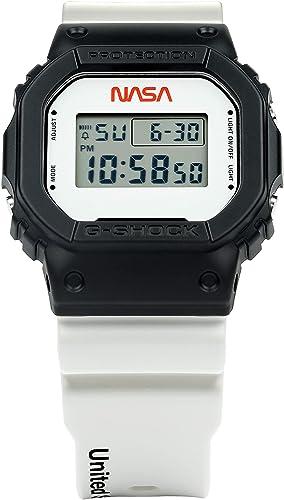 popular G Shock outlet sale Men's All Systems Go outlet online sale DW5600NASA21-1 Watch, White/Black outlet online sale