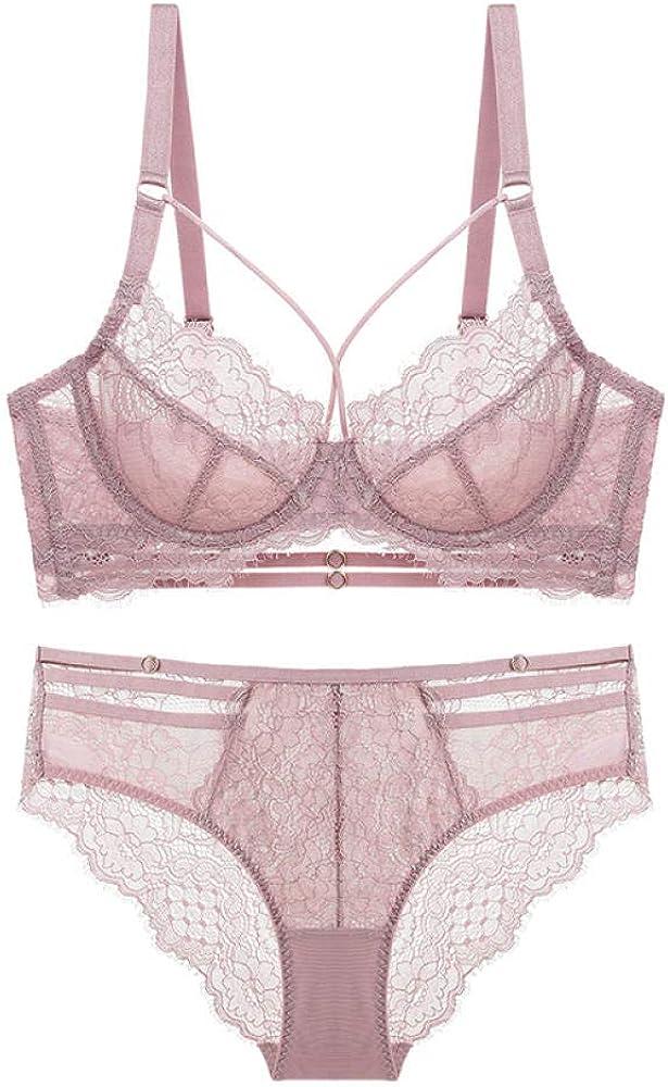 Full Coverage Bra Adhesive Bras Lace Deep Plunge Bra Bra and Panty Set Women Underwear Lingerie-Purplish_Red_85C
