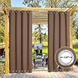 NICETOWN Outdoor Curtain for Pergola Waterproof, Thermal Insulated Top and Bottom Grommets Blackout Indoor Outdoor Drape, Windproof and Keep Privacy (Single Panel, W52 x L95 inch, Tan-Khaki)