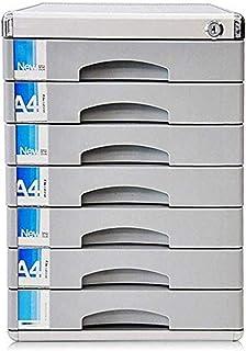 Armoires à archives verticales 7 tiroirs de rangement de données de bureau en plastique avec serrure à clé Argenté 30 x 36...