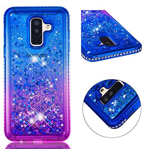 COZY HUT Custodia Samsung Galaxy A6 Plus Glitter Cover,Brillantini Diamond Morbido Silicone Sabbie Mobili Bumper Case per Custodie Samsung Galaxy A6 Plus - Sfumatura Blu Viola