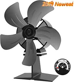 X-cosrack 5 Blades Heat Powered Wood Stove Fan Silent Eco-Friendly Fireplace Fan for Wood Log Burner with Magnetic Thermometer Aluminium Black Large