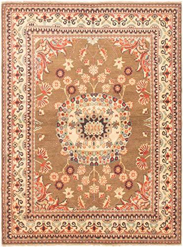 eCarpet Gallery Area Rug for Living Room, Bedroom | Hand-Knotted Wool Rug | Finest Gazni Bordered Brown Rug 4