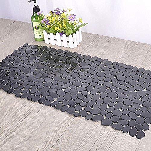 SONGZIMING Non-Slip Pebble Bathtub Mat Black 16 W x 35 L Inches (for Smooth/Non-Textured Tubs Only) Safe Shower Mat with Drain Holes, Suction Cups for Bathroom