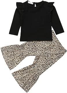 Baby Girls Lace Off Shoulder Crop Tube Top+High Waist Long Leopard Pants Bell Bottom Leggings Set