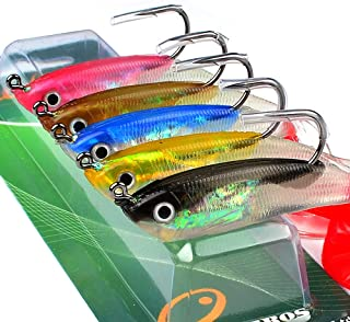 OriGlam 5 Pack JIG Hook Soft Fishing Lures, 3D Eyes Soft Bait Swimbaits Lure, Fishing Baits Worm Sinking Swimbaits Shad Fishing Lure for Saltwater and Freshwater Bass Trout Salmon Jigs Set