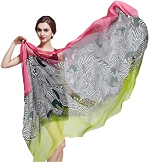 Women's Silk Chiffon Scarf, Mulberry Silk Scarves Large Shawl Scarf Wraps - Wild/Soft/Lightweight, Suitable for Daily Life, Party, Wedding, Travelling,Green