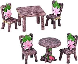 KESYOO 6pcs Miniature Table and Chairs Set Fairy Garden Ornaments Resin Mini Dollhouse Furniture Model Kids Micro Landscap...