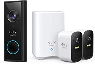 eufy Security eufyCam 2C Wireless Home Security Camera System, 180-Day Battery Life, HomeKit Compatibility, HD 1080p, IP67, Color Night Vision, and eufy Security Wireless 2K Video Doorbell