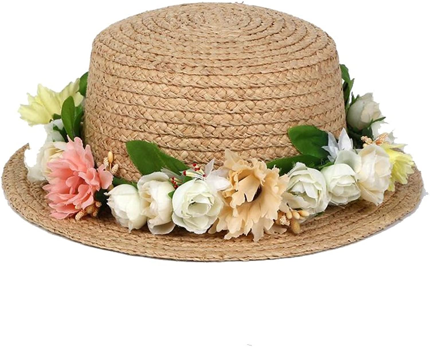 Womens Straw Hat Cap Women's Straw Hat Summer Wreath Decoration Travel Beach Hat Male and Female Couples (color   C)