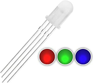 Chanzon 100 pcs 5mm RGB LED Diode Lights Tricolor (Diffused Round Multicolor Red Green Blue 4 pin Common Cathode DC 20mA/Color) Lighting Bulb Lamps Electronics Components Light Emitting Diodes