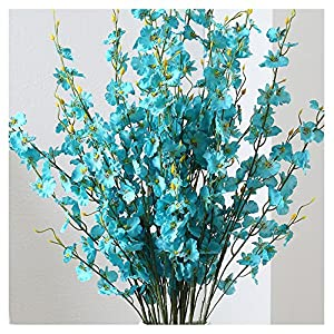 LI HUA CAT 10 Piece Artificial Flowers Plastic Orchid Dancing Flowers Lady Butterfly Orchid phalaenopsis amabilis Moth Orchid for Art Shop Store Interior Decoration