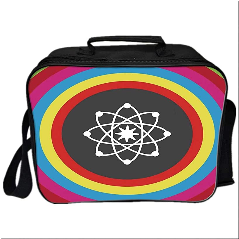 Science Decor Lunch Box Portable Bag,Atom Model with Colorful Circles Molecule Chemistry Biology Physics Lab Orbit for Kids Boys Girls,10.6