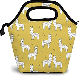 ZYRBsys Llama Mustard Yellow Lunch Bag, Thick Insulated Lunch Tote Lunch Box Bag - Cover for Adults, Women, Girls, School Children - Suitable for Travel, Picnic, Office