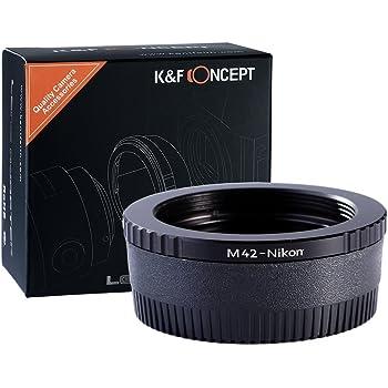 K&F Concept® M42 マウントアダプター M42-NIKON M42マウントレンズ- Nikonマウントカメラ装着用レンズアダプター マウント変換アダプター ガラス付き