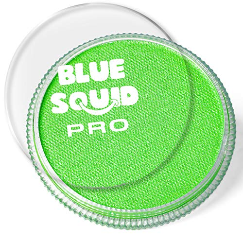 Blue Squid PRO Face Paint - Classic Bright Lime Green (30gm), Superior Quality Professional Water Based Single Cake, Face & Body Makeup Supplies for Adults, Kids & SFX