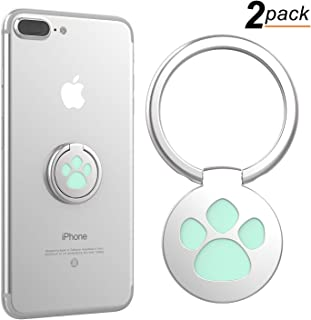 Finger Ring Stand, 360° Rotation Cute Dog Cat Paw Cell Phone Ring Stand Holder Grip Kickstand for iPhone X 8 7 7Plus 6s, Galaxy S7 S8 and More Smartphones (Pack of 2, Green)