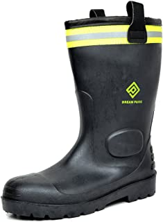 DREAM PAIRS Men's 0613W Water Proof Fur Interior Black Rubber Winter Snow Rain Boots