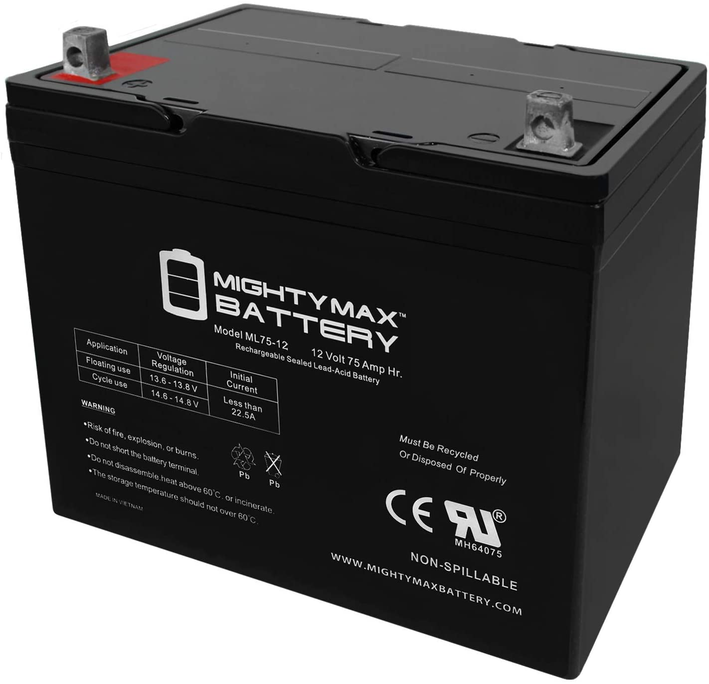Mighty Max 61% OFF Battery ML75-12 12V 75Ah Max 77% OFF T Replaces Teftec Wheelchair